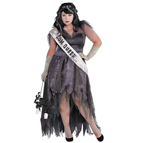 Plus Size XXL UK 18-20 - Ladies Zombie Prom Queen Homecoming Ghost Corpse Halloween Long Floor length Gown Fancy Dress Costume by Fancy Dress VIP (Plus Size Zombie)