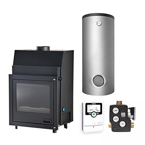 Aquaflam KS1167 25 Basic Wasserführender Kamineinsatz Komplett-Set 1000 L Hygienespeicher + 1 SWT