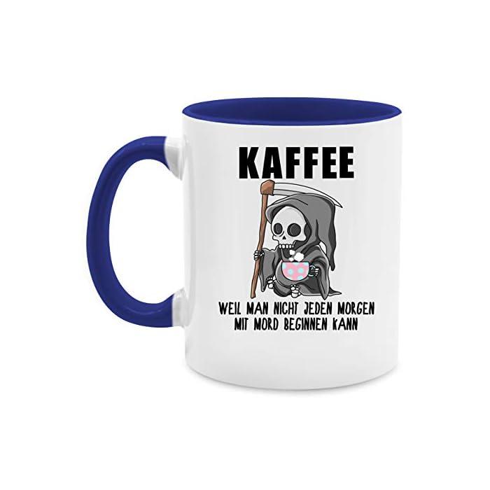 Tasse mit Spruch - Weil man nicht jeden Morgen mit Mord beginnen kann - Unisize - Schwarz - tasse arbeit - Q9061…