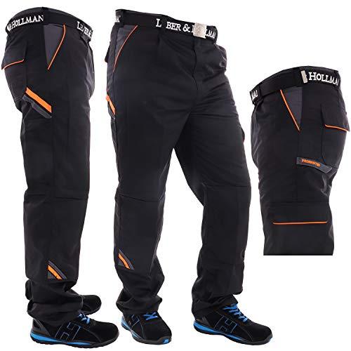 Robuste Profi Arbeitshose für Männer in schwarz/grau/orange, Lange Herren Bundhose mit Kniepolster Taschen und Schlaufe Schutzkleidung (Größe 46)