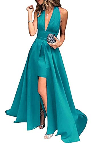 HSLS Frauen Lange Backless Abendkleid High-Low Halter V-Ausschnitt Satin Abendkleider Homecoming...