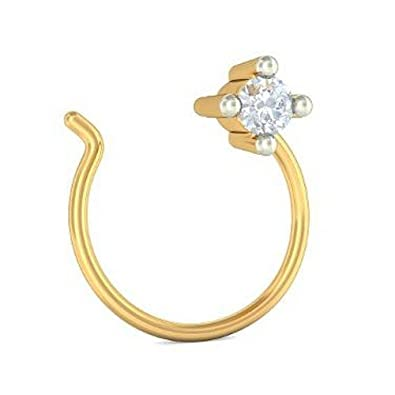 Buy BlueStone 14K Yellow Gold and Diamond Nose Pin line at Low