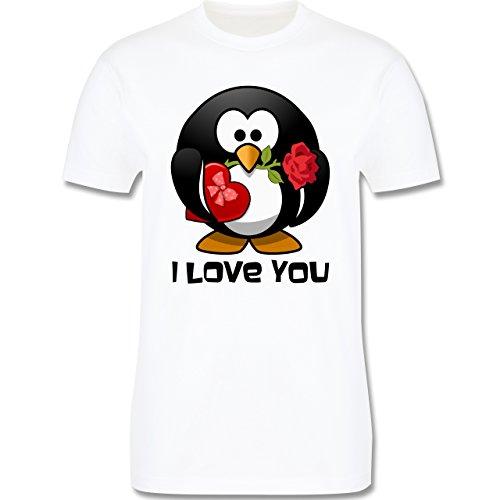 Valentinstag - Pinguin Rose Pralinen Geschenk - Herren Premium T-Shirt Weiß