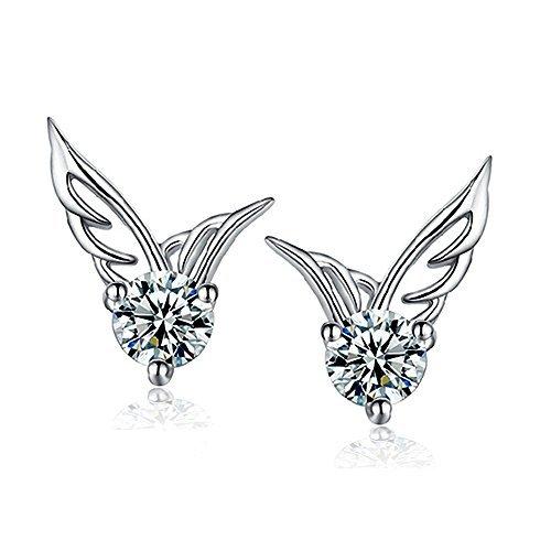 HuntGold Glänzende Engelsflügel-Form Kristall Silber Ohrring Durchbohrt Ohrstecker