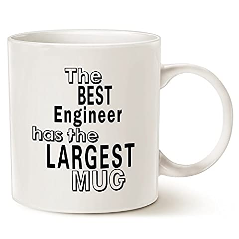 Funny Engineer Coffee Mug Office Quote, Best Gifts for Engineer Porcelain Cup White, 14 Oz by LaTazas