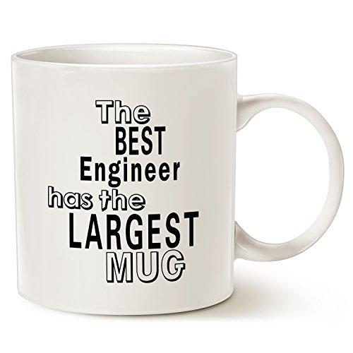 Tasse de café sympa pour ingénieur Avec citation de bureau, Excellent cadeau pour ingénieur Tasse en porcelaine Blanc, 414 ml par LaTazas