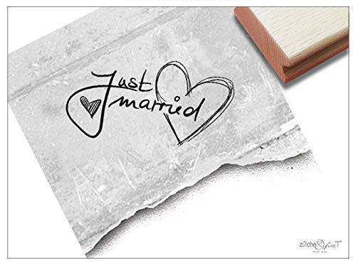 (Stempel - Hochzeitsstempel Just Married - Textstempel Schriftstempel Geschenk Hochzeit Karten Heiratsanzeige Danksagung Deko - zAcheR-fineT (Klein ca. 24 x 37 mm))