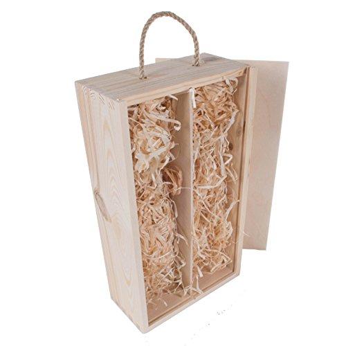 (Uni Holz Wein Box Halter Fall mit Schiebedeckel und Seil Griff Pre gefüllt mit Holz Wolle handcrafted- 1/2Flasche Räume erhältlich Mittelmeer, holz, natur, 2 Bottles)