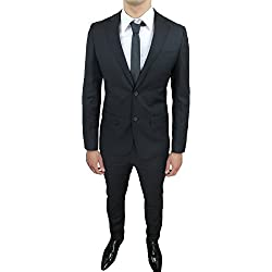 Abito completo uomo sartoriale nero slim fit aderente nuovo elegante cerimonia (52)