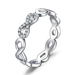 Idea Regalo - JewelryPalace Infinito Eterno Amore Cubic Zirconia Anniversario Promessa Anello 925 Sterling Argento 17