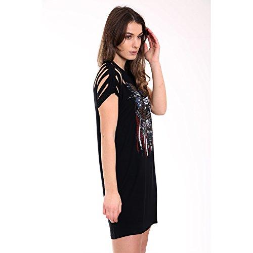 Damen Slashed Sleeve Eagle gedruckt Longline T-Shirt Kleid EUR Größe 36-42 Schwarz