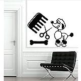 Chien Toilettage Autocollants Muraux Décoratifs 43 * 58Cm De Verre De Vitrine De Magasin Pour Animaux De Compagnie