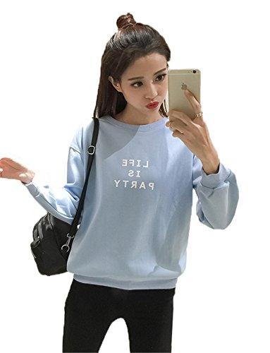 JOTHIN Donna Manica lunga Ragazza Felpa Autunno velluto Magliette Boyfriend Girocollo Felpe Eleganti Casual T-shirt Blu