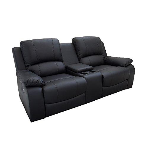 Riess Ambiente Retro 2er Kinosessel Hollywood schwarz Kunstleder Zweisitzer Sessel mit Getränkehalter Verstellbarer Fernsehsessel 2 Sitzer mit Liegefunktion -