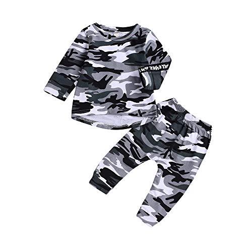 Yanhoo-Kinder Bekleidungsset,Unisex Baby 2 Stück Langarm Camouflage T-Shirt Tops Oberteil Bluse Pullover Sweatshirt + Baumwolle Lange Hosen Herbst Winter Jungen Mädchen Kleidung Set Military Overall