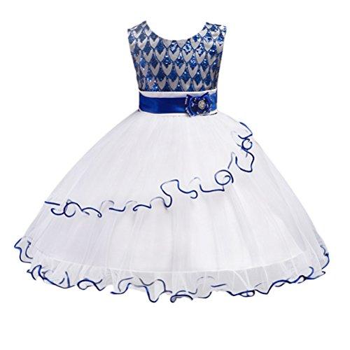 Zhhlaixing Kinder Hochzeit Partei Performance Sequins Prinzessin Kleid Ärmellos Mädchen Süss Lace Puff Skirt (Kostüme Girl Pretty)