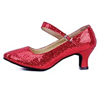 """Clemunn Women Shoes, Womens Sequin Mid-High Heels Glitter Dance Shoes, Ladies Ballroom Latin Tango Rumba Buckle Ankle Strap Spike Heels Party Casual Shoes (Red,5 UK/Length: 23.5cm/9.3"""")"""