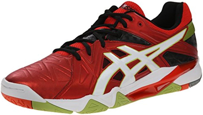 Zapato de voleibol Gel-Cyber Sensei para hombre, Tomate Cherry / Blanco / Negro, 12.5 M US  -