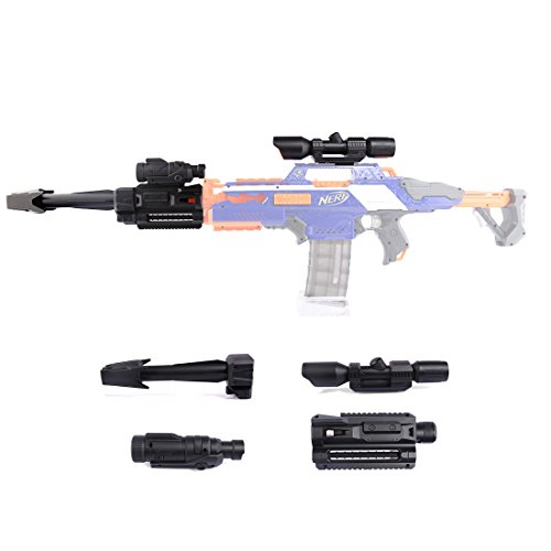 Upgrade Zubehör Set für Nerf, CT-Tribe Zielfernrohr + Taschenlamp + Vorderrohr + Guide Rail Adapter pour Nerf Stryfe/Retaliator/Rapidstrike/Modulus Regulator (Sniper Set)