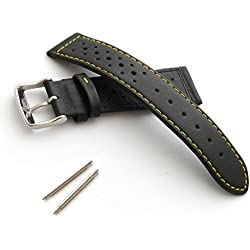 Perforated/Sports Leather Watch Strap (22mm - Yellow Stitch)
