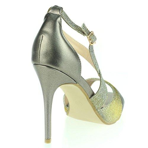 Frau Damen Schimmernd Offener Zeh Seitenriemen Hoher Absatz Stilettos Abend Party Hochzeit Abschlussball Braut Sandalen Schuhe Größe Zinn