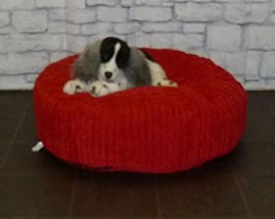 "Zippy Round Bean Bag Pet Dog Bed - 30"" diameter - Red Jumbo Cord Fabric - Beanbags"