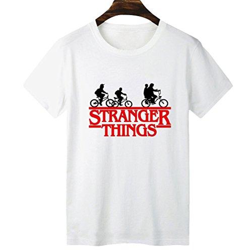 Yuanu Hombre Suave Cómodo Casual Straight Camiseta Manga Corta Cuello Redondo T-Shirt con Temática Impresión Sobre Stranger Things Impresión Estilo 12 S