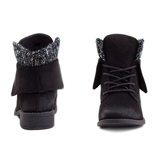 Stylische Damen Schnür Boots Kurzschaft Stiefeletten in hochwertiger Lederoptik Schwarz