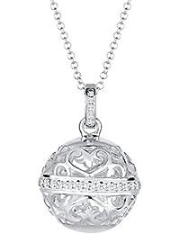 Elli PREMIUM Damen-Kette mit Anhänger Ornament Kugel 925 Silber Zirkonia Brillantschliff weiß  - 0103261715