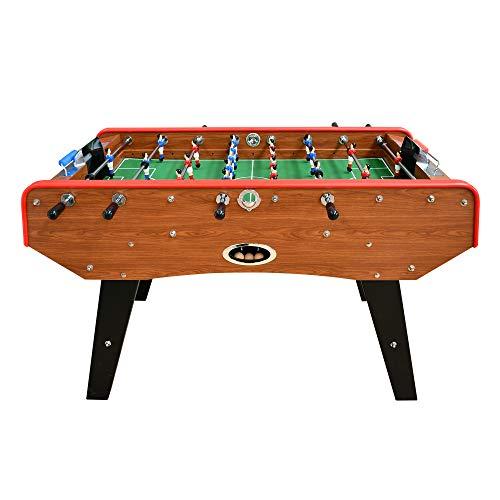 PLAY4FUN Babyfoot Classic - 151 x 77 x 91 cm - Table de Baby-Foot avec Barres téléscopiques, Couleur Bois Chêne et Balles Lièges Inclus