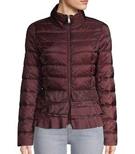 T Tahari womensQ6824217Lightweight Short Puffer with Ruffle Hem Detail Down Alternative Coat