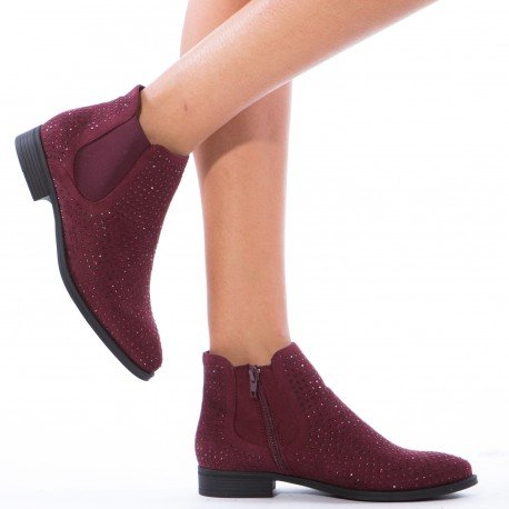 Ideal Shoes - Bottines chelsea à strass Inael Rouge