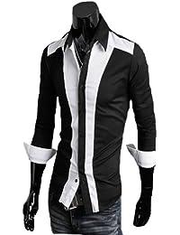 Zehui Mens Casual Slim fit Stylish Dress Shirt Contrast Color Long Sleeve Shirt