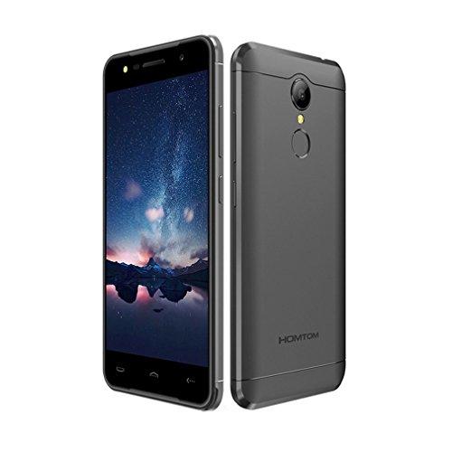 HOMTOM HT37 3G WCDMA Ohne Vertrag Smartphone, Android 6.0 (5 Zoll HD, 2.5D Glasschirm, Quad-Core, 2GB RAM + 16GB ROM Speicher, 8.0MP Kamera, 3000mAh Akku,Doppel Lautsprecher, Fingerabdrucksensor)Schwarz