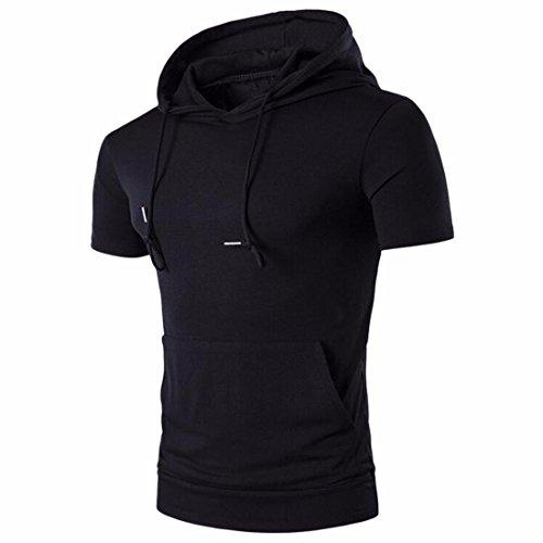 QIYUN.Z Männer Beiläufige Normallackkurzschlußhülse Hoodiesoberseiten T-Shirts