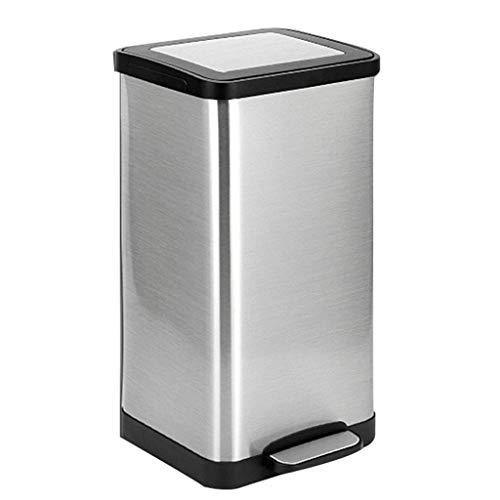 LWX Edelstahl-Mülleimer,Kreativer Papierkorb Haushalt Wohnzimmer Schlafzimmer Badezimmer Pedal-Typ Mülltonne Hohe Kapazität Papierkorb (Farbe : A)