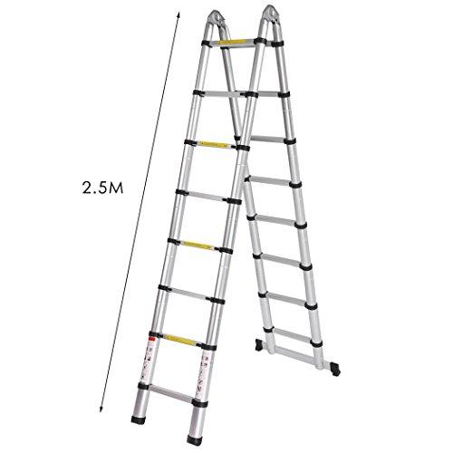 2.5M Multifunktionelle Anlegeleiter Teleskopleiter Ausziehbare Alum Leiter Klappleiter Mehrzwerkleiter für Industrielles und Haushaltliches Gebrauch Silber(Ausgefahren 5M)