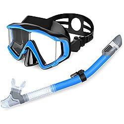 CPAQW Set De Plongée - Masque De Plongée HD Panoramique Masque De Plongée en Verre Trempé avec Silicone Alimentaire Sec Tuba pour Sec Plongée en Apnée Plongée Libre Plongée en Apnée,Blue