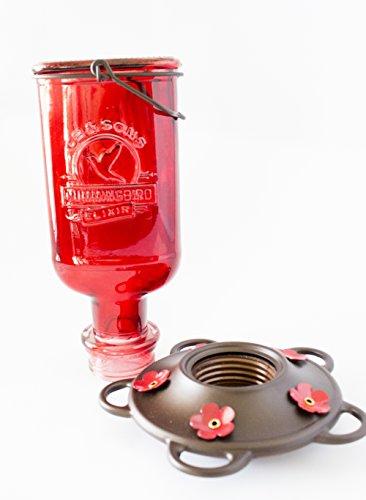 We Love Hummingbirds Schöne Rot Antik Flasche Kolibri Feeder-inkl. 5Nektar Sitzstangen. 100% Garantiert, Dass Ihr Hummers Liebe. -