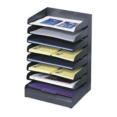 Safco Products Company Products - Steel Desk Tray Sorter, 8-Tier, Letter-Size, Black - Sold as 1 EA - Classic office desk tray sorter offers contemporary finish. Slanted shelves feature finger notch-outs for convenient access. Decorative, textured powder-coat finish in black is durable and resists fingerprints. by Safco - Black Powder Coat Finish
