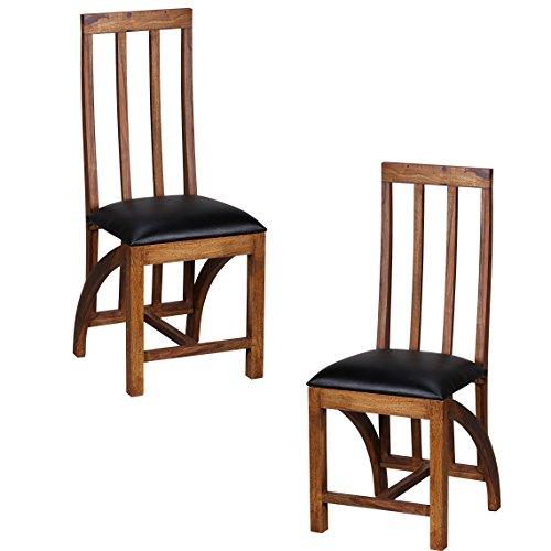 Wohnling Esszimmerstühle 2er Set Massiv-Holz Sheesham Küchen-Stühle Leder Optik Schwarz Holzstühle Dunkel-Braun Landhaus-Stil Essstühle mit Lehne Natur-Produkt Stühle mit Beine Echt-Holz unbehandelt