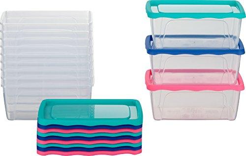 Kigima Frischhaltedosen Gefrierdosen 1l 12er Set mit Deckel blau/grün/pink