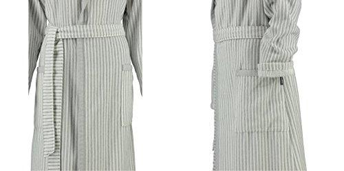 Cawö Damen Bademantel Saunamantel Walk Velours Qualität weiß- grau/blau oder beige Weiß / Grau
