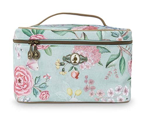 Beauty Case Square Medium Floral Blue 23 x 16 x 16 cm