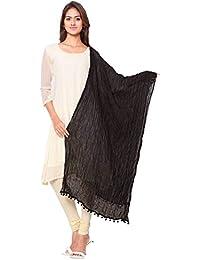 Nakoda Creation Women's Solid Cotton Black Dupatta (Pack Of 1)