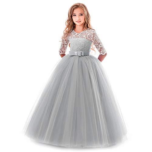 OBEEII Kinder Mädchen Hochzeitskleid Blumenspitze Kurze Ärmel Elegante Ballkleid Cocktailkleid 2-3...