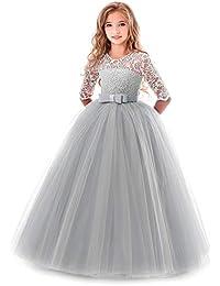 5bf168726dd3 OBEEII Bambina Vestito Principessa in Pizzo Manica Mezza Abbigliamento  Bambine Invernale Eleganti Abito Principessa de Festa
