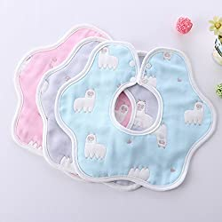 [4 pack] Baby bib,360 Degree Rotation&Reversible,Unisex Absorbent Organic Cotton,100% Cotton