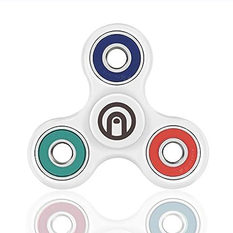 SPIN ME UP / Fidget Spinner / Hand Spinner / Tri-Spinner / Cœur Céramique Noir Haute Qualité / Durée 2 Minutes / Parfait pour Adulte et Enfant (Blanc - VBR)