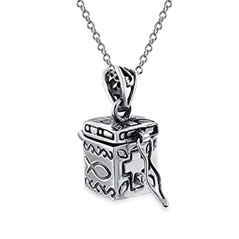 Bling Jewelry Cremation Urn Prayer Box Locket Pendant Ichthys Cross .925 Silver Necklace 18 Inches - Veleno Box Locket